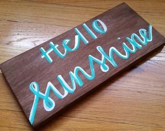 Hello sunshine sign - aqua and white hello sunshine sign