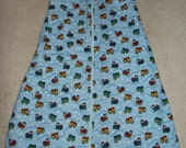 Infant Boy Baby size 12 months Sleep Sack Blue with Trains Flannel and Green Interior