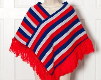 Vintage Red Blue White Poncho - PACAYA INTERNATIONAL
