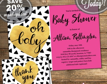 Baby Shower Package, Invitation, Thank You Card, Triangles, Aztec, Tribal, Black and White, Pink, Printable File (INSTANT Download)