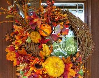 Grapevine FALL or THANKSGIVING Wreath with Fall Foliage, Beaded PUMPKIN and Feathers