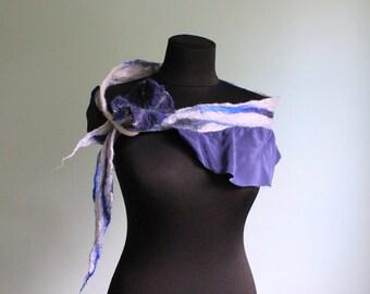 Nuno felted Scarf - Blue flower / wool / dress / art