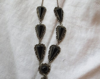 Sale  DECO Mexican STERLING & Black ONYX Necklace