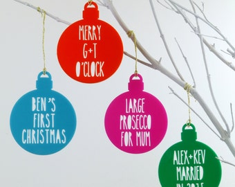 Personalised Message On A Christmas Bauble