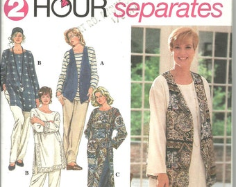 Simplicity Pattern 8783 Women's Separates Boho Tunic Pants Vest (26W - 32W) UNCUT