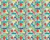 Wheels 2 by Deena Rutter for Riley Blake Designs, Signs Blue, SKU C5043, 1 yd