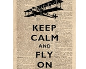 Keep calm and fly on Print, vintage aeroplane illustration, on reproduction dictionary page featuring the word engineer''