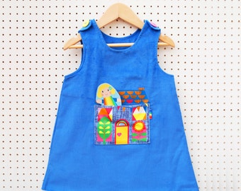 Little girls dolly house pocket pinafore dress in blue cord