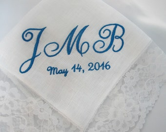 Wedding Handkerchief Personalized for the Bride with her initials