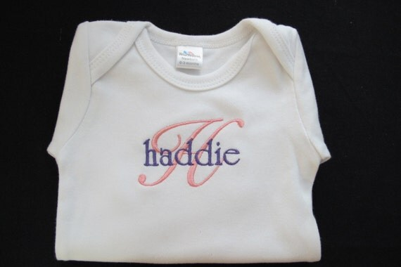 Onsie Embroidered with Baby Girls Name and First Initial