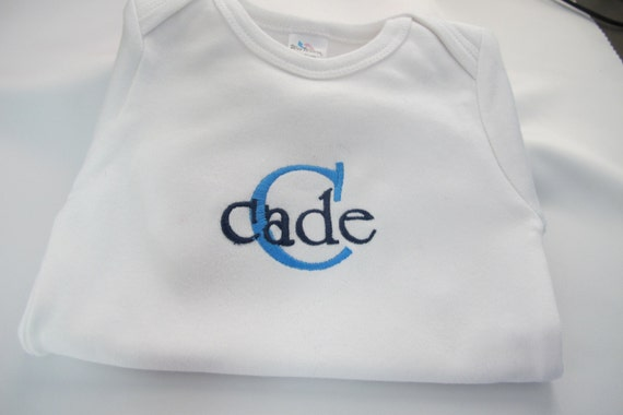 Onsie Embroidered with Baby Boys Name and First Initial