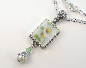 Broken China Jewelry White Daisy Flower Floral Charm Pendant Necklace Vintage Porcelain Jewelry by Charmedware