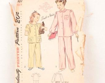 1940s Simplicity 1807 // girl's pajama pattern