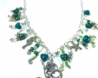 mermaid Siren Water Nymph Silver Charm necklace