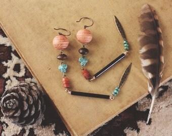 Long Earthy Eclectic Dangle Earrings