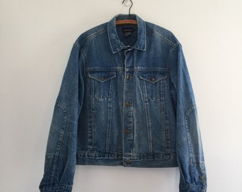 Vintage 80's Calvin Klein Denim Jacket / Mens Broken In Jean Jacket L XL