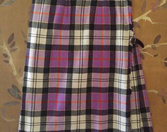 80s purple tartan kilt skirt