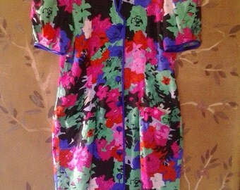 80s Flora Kung abstract print silk dress