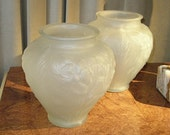 Pair of 'Tiffin' Frosted-Glass Art Deco Vases