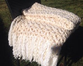 Crochet Blanket Throw Cream White Afghan with Fringe Thick Bulky Unique One Of A Kind Hippie Boho Gypsy