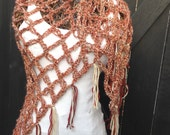 Crochet Spring Summer Spice Brown Triangle Neck Scarf Shawl Wrap with Fringe Unique One of a Kind Gypsy Hippie Boho