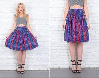 Vintage 80s Purple + Magenta Striped Skirt Pleated Full High Waist Small S 6478 vintage skirt purple skirt magenta skirt high waist small