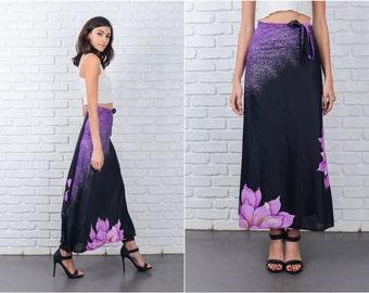 Vintage 80s Black + Purple Wrap Skirt Sarong Maxi Floral Print S M L 7159