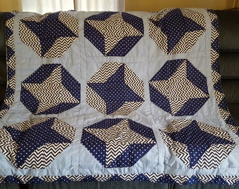 Hand sewn blanket, throw, lap quilt in blue colors, OOAK