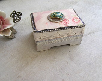 Altered Small Wood Box, Wedding Ring Bearer Box, Embellished Keepsake Box Victorian Style, Decorative Jewelry Box Shabby Vanity Table Decor