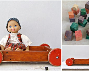 Vintage Wood Toy Cart, Rustic Wooden Pull wagon, Retro Nursery decor, Mid Century Kids Toy, Red Brown Pull Cart and Blocks, Wood Planter