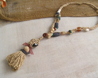 Boho Tassel Necklace, Rustic Fiber Art Mixed Beads Colorful Necklace, Ethnic Linen Statement Jewelry, Modern Tribal Crochet Stone Necklace
