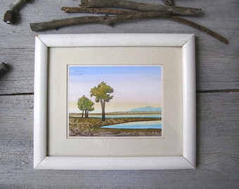 Vintage Silk Painting Landscape, Original Framed Picture, Realistic Painting Beach House Wall Art, Brown Blue Office Art, Nursery Wall Decor
