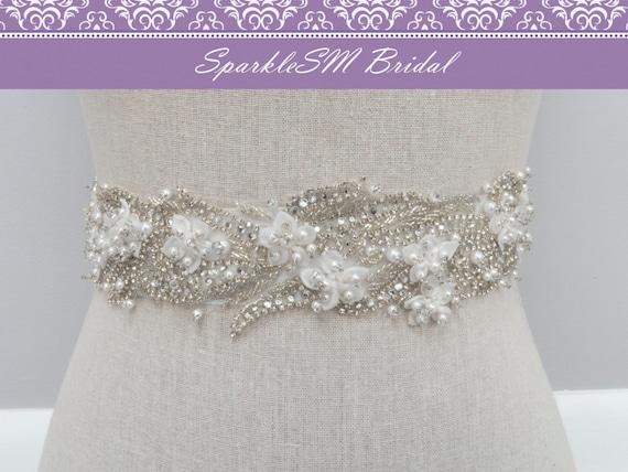 Rhinestone Bridal Sash, Rhinestone Crystal Wedding Belt, Rhinestone Pearls Satin Sash, Jeweled Beaded Sash, Bridal Accessories - Liv