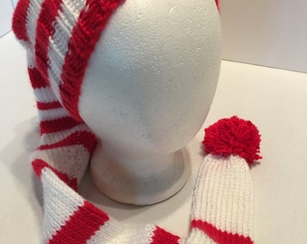 Stocking Cap Handknitted White with Red Stripes Super Soft 40 inches long