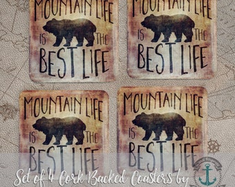 """Coaster Set   Mountain Life   """"The Best Life"""" Bear, Lodge Wilderness Chic Decor   Set of 4 Cork Back   Options at Checkout"""