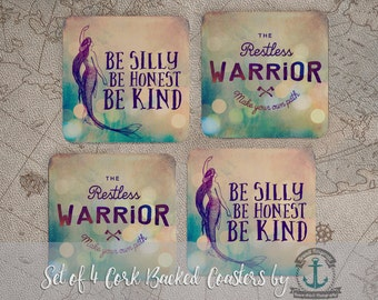 Silly Honest Kind Mermaid Coaster Set: Emerson Quote, Restless Warrior Beach House Nautical Style | Cork Back Home Accessories