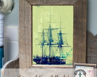 Sails at Sea - Framed Print in Reclaimed Barnwood Beach House Style - Handmade Ready to Hang | Size & Price via Dropdown