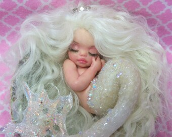 OOAK art doll fantasy mermaid baby polymer clay sculpture fairy handmade collectable  IADR       free shipping