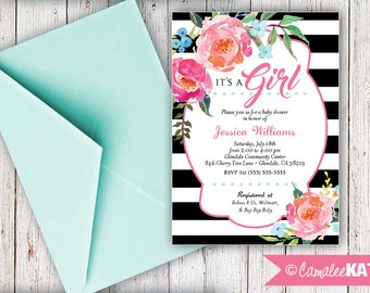 Elegant Floral / Black and White stripe Baby Shower invitation - personalized printable file - Hot Pink Watercolor flowers