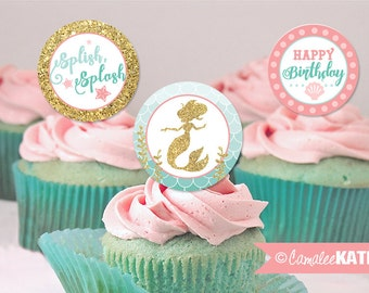 Mermaid Peach Pink, Teal Blue, Gold Glitter / Printable 2 inch Favor Tags / Cupcake Toppers / Girls Birthday Digital / INSTANT DOWNLOAD