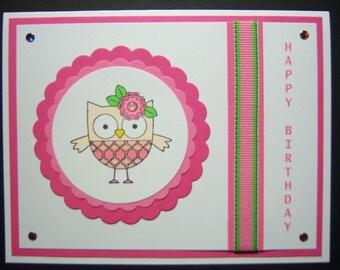 Sweet Little Owl Birthday Card