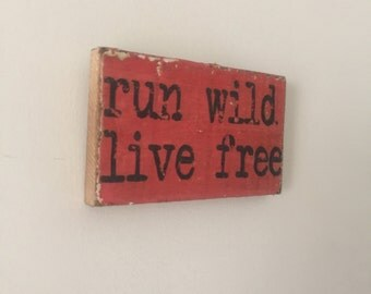 Run Wild Live Free Small Rustic Pink Distressed Wooden Handpainted Word Art Sign on Reclaimed Wood, The Funki Little Frog Quick Quotes