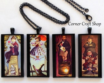Haunted Mansion Stretching Pictures  Tightrope Walker Girl Alligator  Image Charm Pendant Black Necklace  4 Designs to Choose