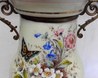 Sale Antique Victorian Handpainted Butterfly/Flowers Glass/Bronze Electric Table Lamp/Home Decor