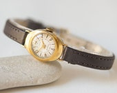 Mid century lady's watch Lyre, tiny oval wrist watch, gold plated woman watch rare, classical 50s woman watch, premium leather strap new