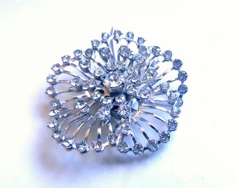 Midcentury Jewelry Flower Starburst Pin Brooch Chech Crystal Pin Brooch Vintage Jewelry Coat Jacket Pin Scarf Pin Holiday Wedding Jewelry