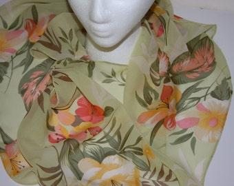 Vintage BILL BLASS Very Long Silk Scarf 10x58 Pale Green Floral