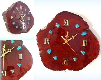 Glossy Tree Trunk Wall Clock - Turquoise Stone Accents - Battery Operated
