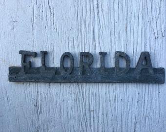 Vintage metal Florida camper or trailer plaque 1950s