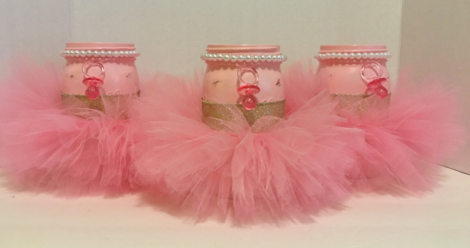 It s a girl baby shower centerpieceset of pink mason